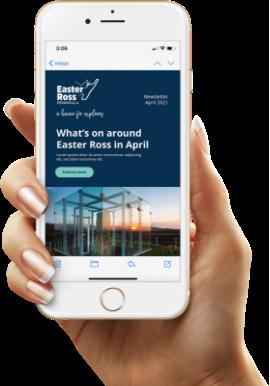 Hand holding phone depicting Easter Ross website.