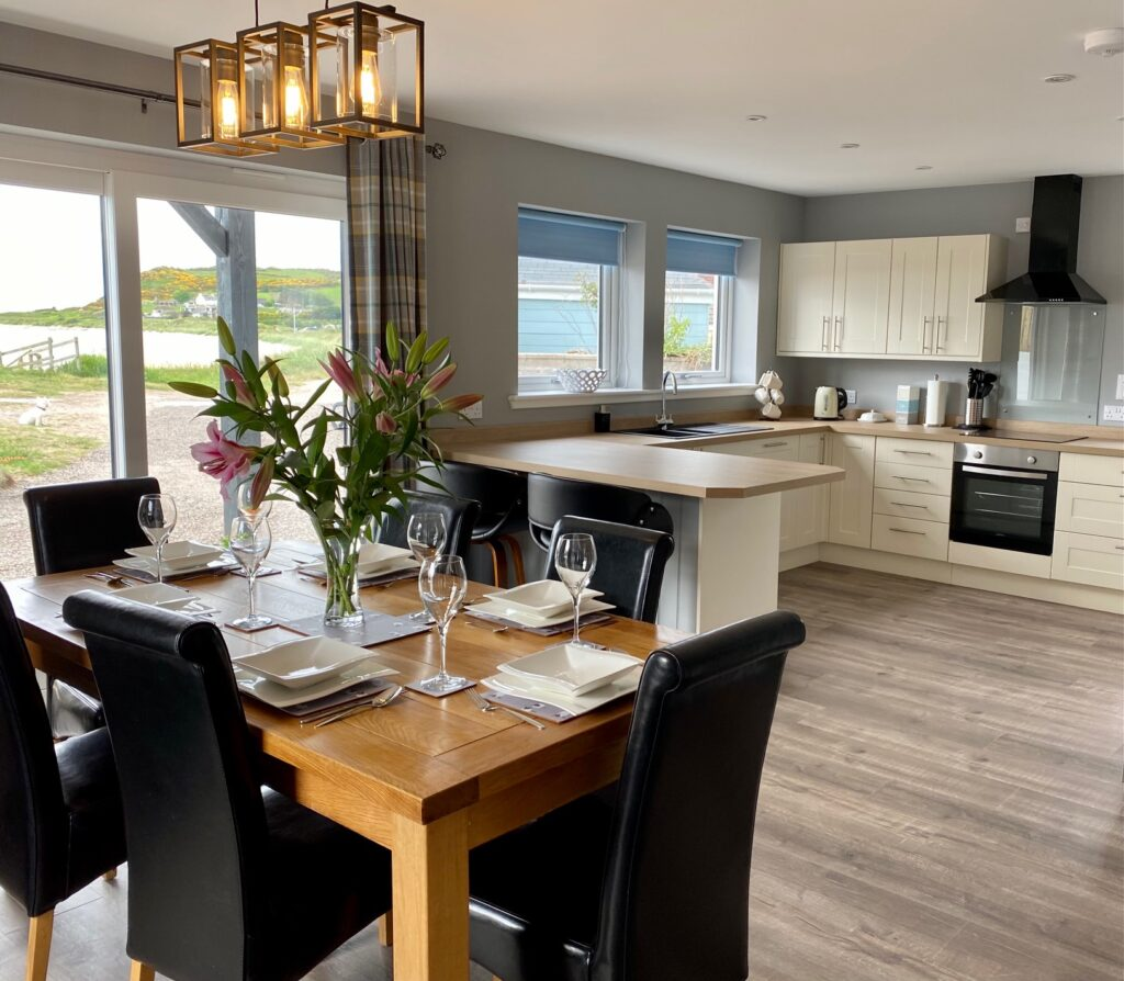 Kitchen and dining room inside on the beach