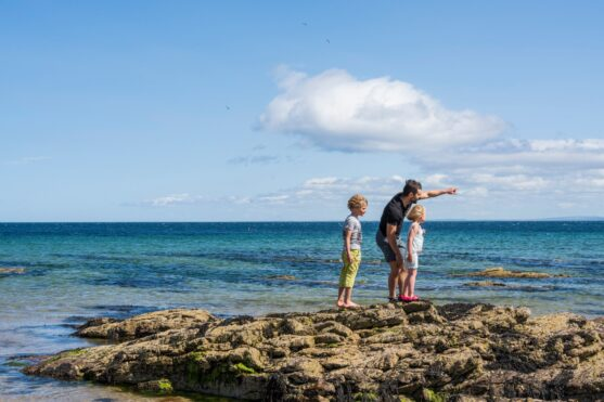 Adult and 2 children standing on rocks looking out to sea