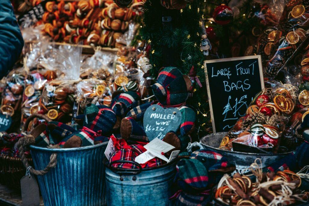 Christmas goodies at a market